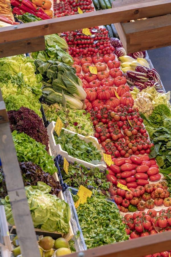 Nya grönsaker, sallad, löktomater erbjöd på Kleinmaren royaltyfri foto