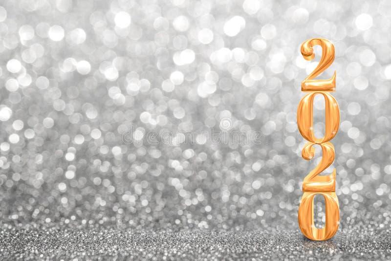 2020 nya gyllene år 3d-rendering med ett blixtljus glatt perspektiv på silverglitter lyxsemester fotografering för bildbyråer