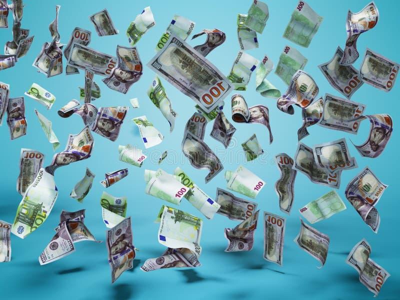 Nya hundra dollar och hundra eurosedlar faller på golvet 3d för att framföra på blå bakgrund med skugga vektor illustrationer