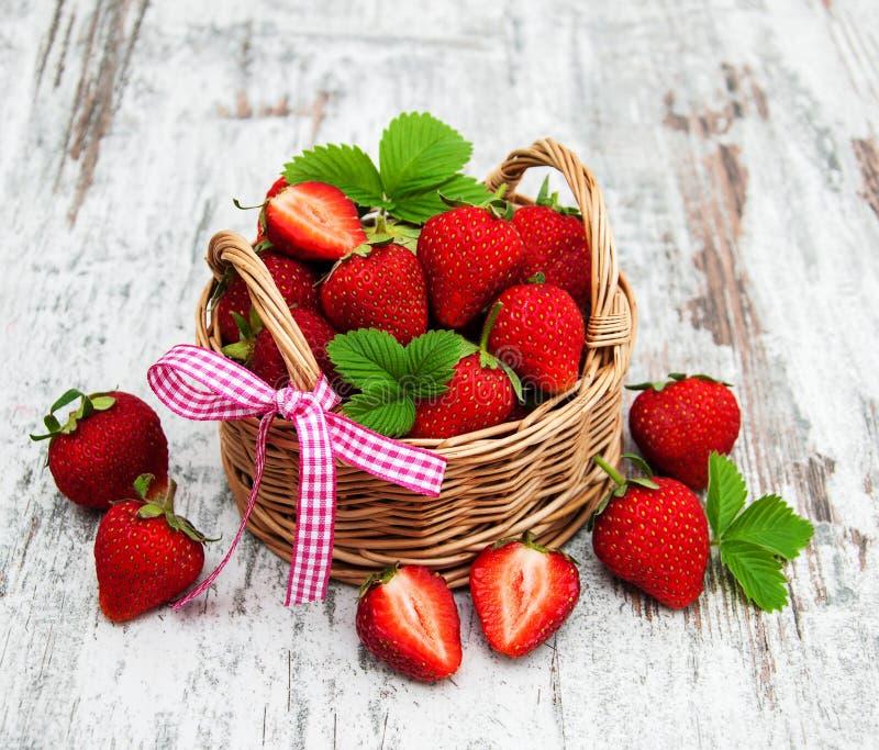 nya jordgubbar för korg royaltyfri fotografi