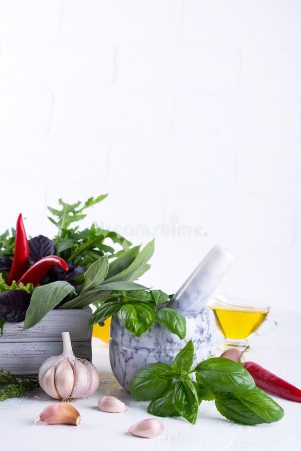 Nya kökörter och kryddor, olja med en vit keramisk mortel Vis arugulagarlic chili för basilikadillsallad royaltyfria foton