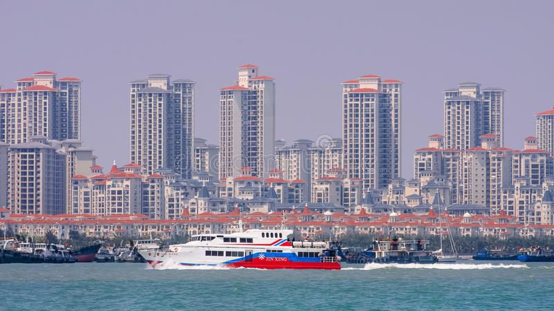 Nya konstruerade bostads- torn i ett kust- område av Xiamen, Kina arkivfoton