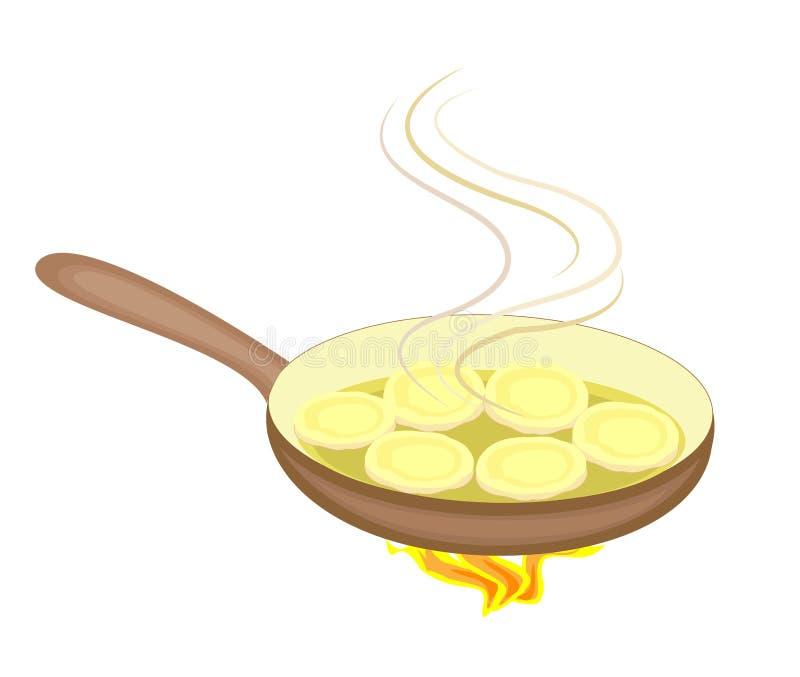 Nya läckra aptitretande pannkakor Småfisk i en stekpanna på brand Det finns en varm ånga l?cker mat ocks? vektor f?r coreldrawill stock illustrationer