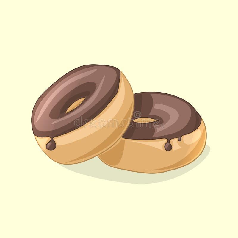 Nya läckra chokladdonuts också vektor för coreldrawillustration stock illustrationer