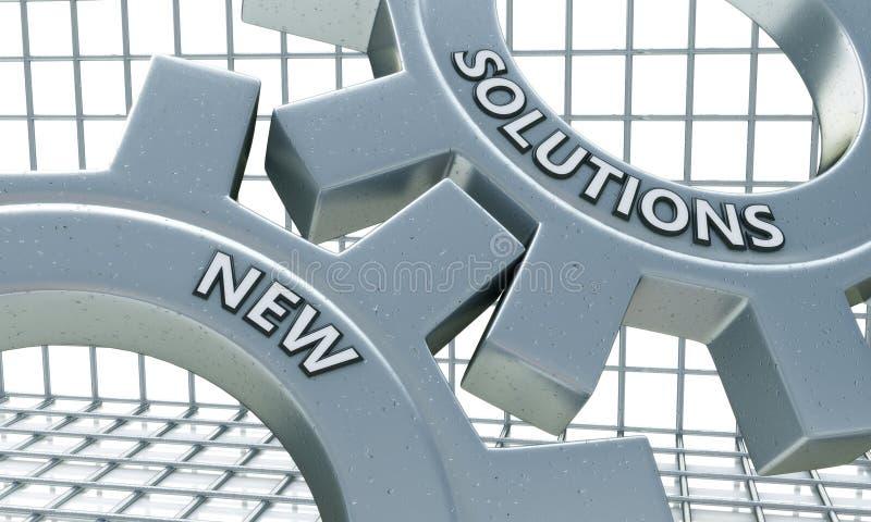 Nya lösningar på mekanismen av metallkugghjul royaltyfri illustrationer