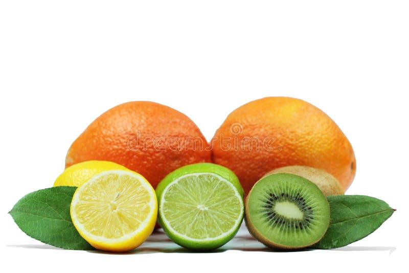 Nya limefrukt, citron och apelsiner på vit bakgrund fotografering för bildbyråer