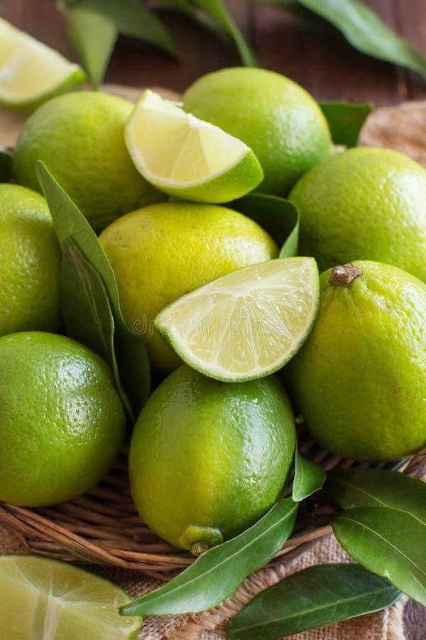 Nya limefrukter med lämnar royaltyfria bilder