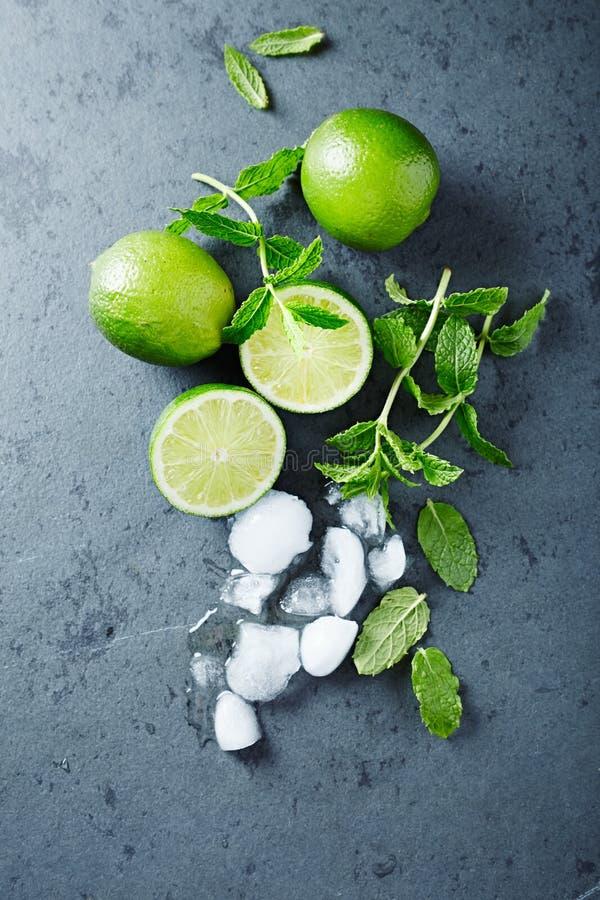 Nya limefrukter, mintkaramellsidor och iskuber arkivfoton