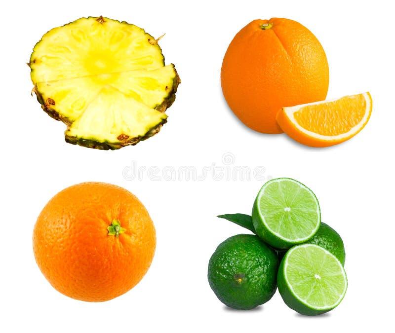 Nya limefrukter, skivad apelsin, saftiga skivor för ananas arkivbilder