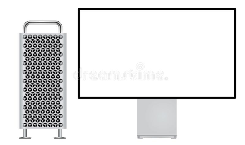 Nya Mac Pro med skärm för näthinna 6K stock illustrationer
