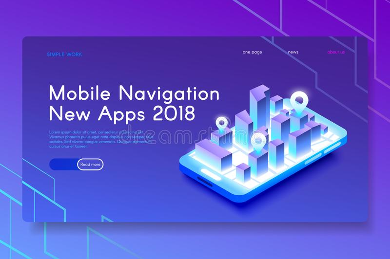 Nya mobila navigeringApps Modern isometrisk rengöringsdukillustration stock illustrationer