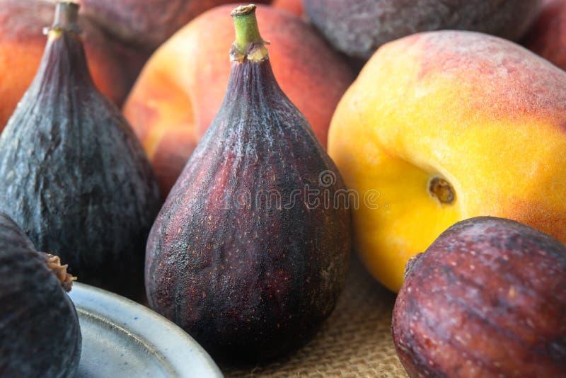 Nya mogna fikonträd och Peaches Close Up fotografering för bildbyråer