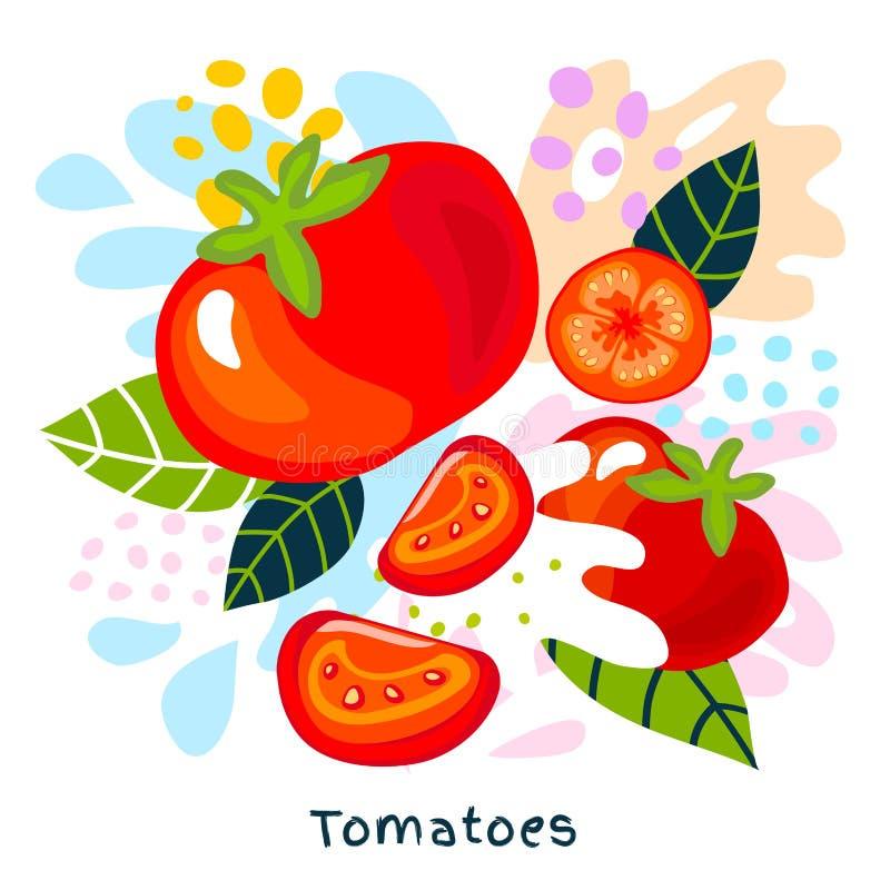 Nya mogna grönsaker för tomater för organisk mat för färgstänk för tomatgrönsakfruktsaft saftiga stänker på den abstrakta bakgrun royaltyfri illustrationer