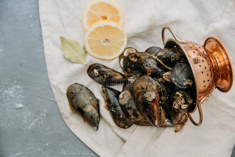 Nya musslor på linneservett fotografering för bildbyråer