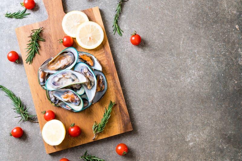 nya musslor på träbräde fotografering för bildbyråer