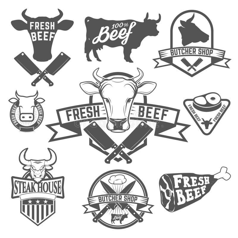 Nya nötköttetiketter Slaktlageretiketter Kon heads symboler stock illustrationer