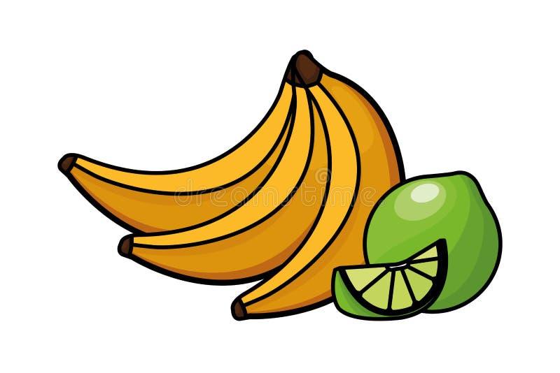 Nya och läckra tropiska frukter royaltyfri illustrationer