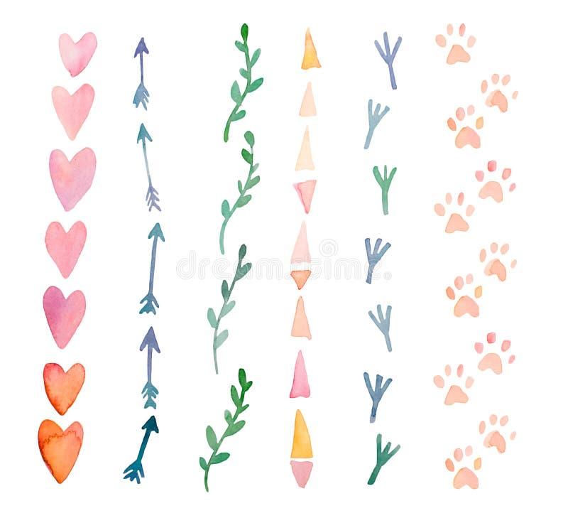 Nya och ljusa vattenfärgdesignbeståndsdelar: hjärtor pilar, spår Uppsättning av hand drog abstrakta färgrika objekt royaltyfri illustrationer
