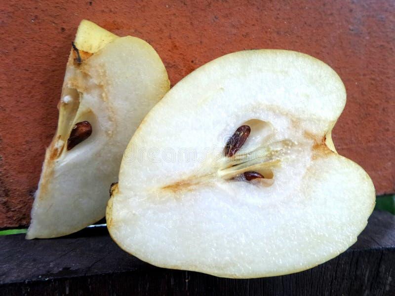Nya och söta saftiga kinesiska päron för SliceÄ  royaltyfri fotografi