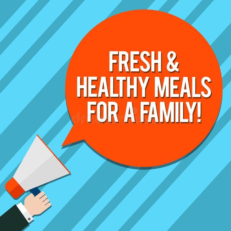 Nya och sunda mål för ordhandstiltext för en familj Affärsidé för bra näring som tar omsorg av vård- Hu stock illustrationer