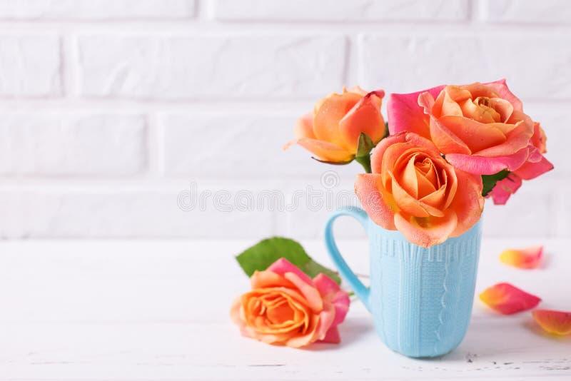 Nya orange rosor i blåttkopp på vita träbakgrundsagains fotografering för bildbyråer