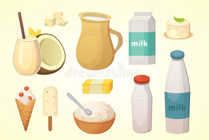 Nya organiska mjölkar produktuppsättningen med ost, smör, kaffe, gräddfil och glass vektor illustrationer