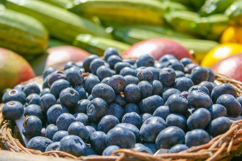 Nya organiska mogna blåbär i en korg arkivfoton