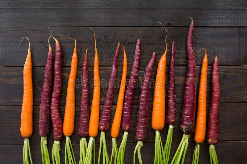 Nya organiska morötter på en mörk yttersida arkivfoton
