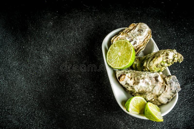 Nya ostronmusslor med citronen royaltyfria bilder