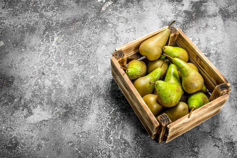 Nya päron i en ask royaltyfri bild