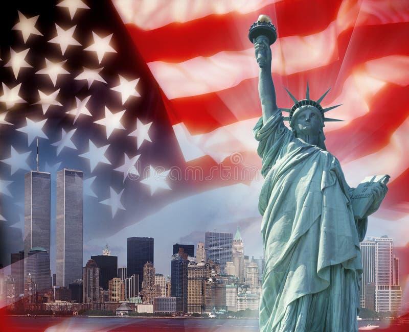 nya patriotiska symboltorn kopplar samman york royaltyfri bild
