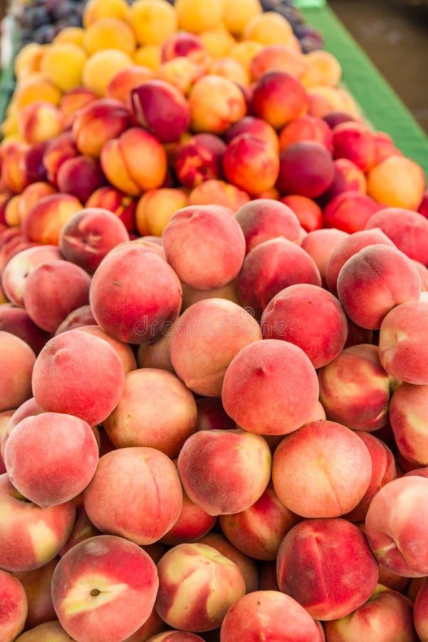 Nya persikor på marknaden royaltyfri foto