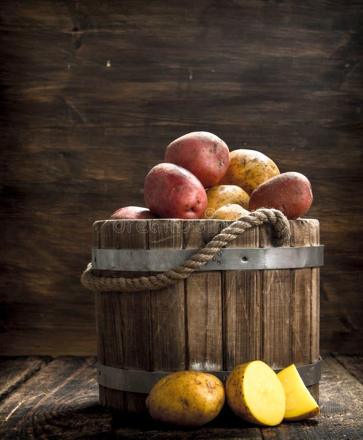 Nya potatisar i en trähink arkivfoton