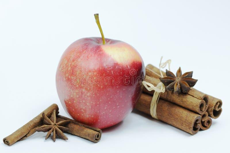 Nya röda äpplen med kanel på vit bakgrund royaltyfri bild