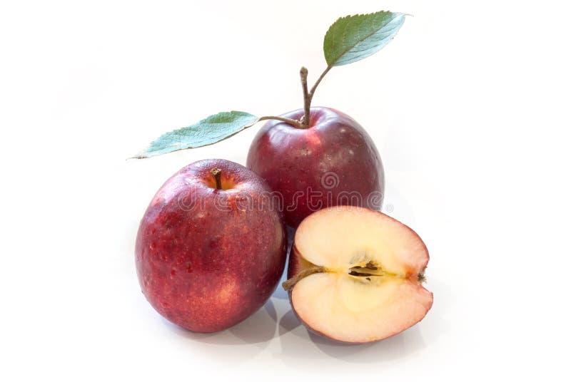 Nya röda äpplen med sidor som isoleras på vit bakgrund royaltyfri foto