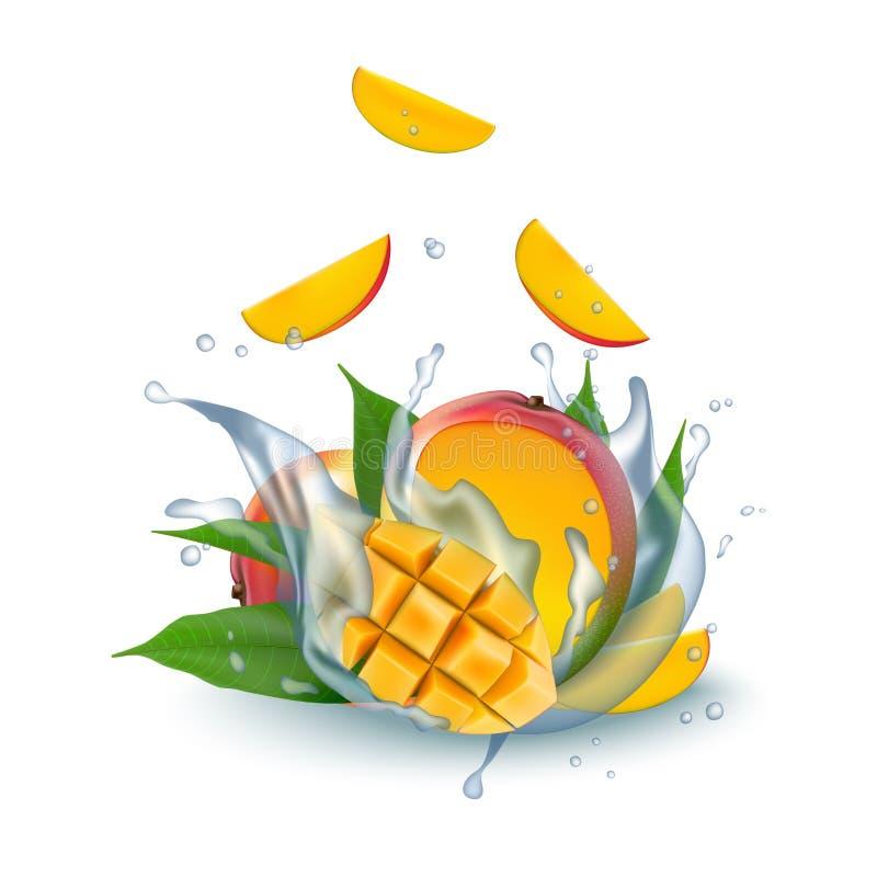 Nya realistiska kuber för mango 3d med vatten mjölkar yoghurtfärgstänkdro stock illustrationer