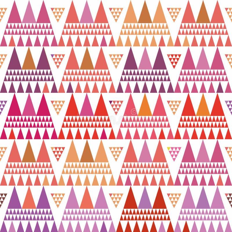 Nya rosa, purpurfärgade och orange klungor för bohostiltriangel Repetitionvektormodell på vit bakgrund med sommarvibe stock illustrationer