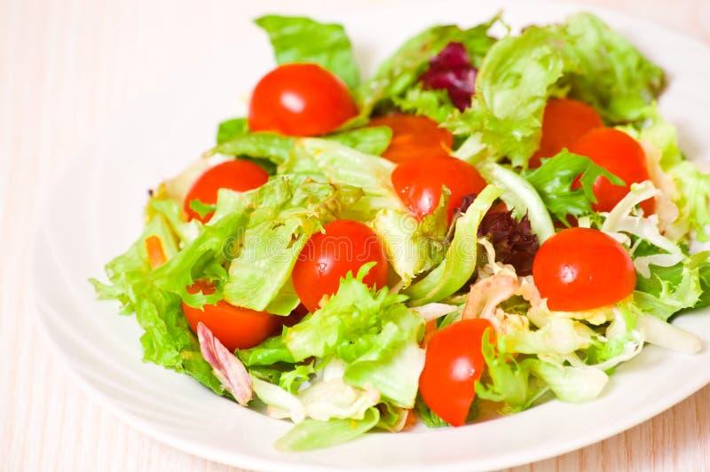 Nya sidor för blandad sallad med körsbärsröda tomater royaltyfria bilder