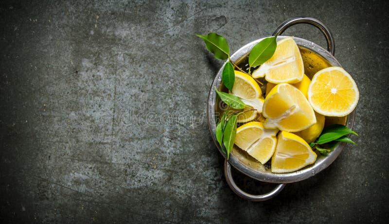 Nya skivade citroner med sidor i en kastrull royaltyfri bild