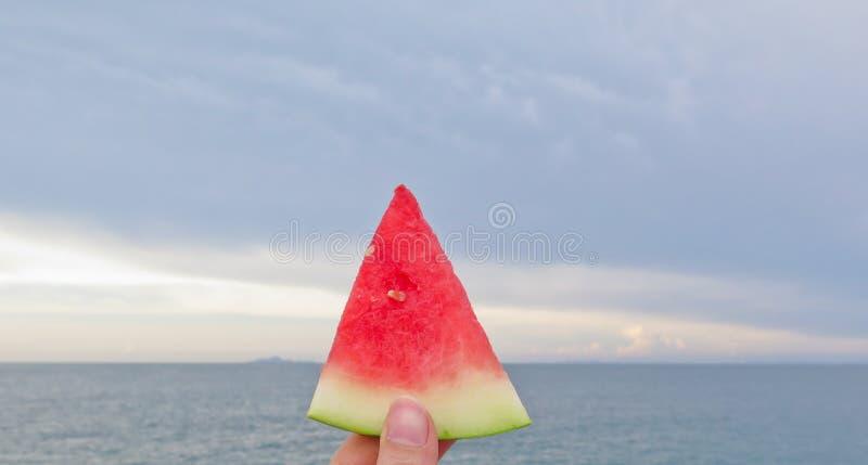 Nya skivor av den röda vattenmelonen royaltyfria foton