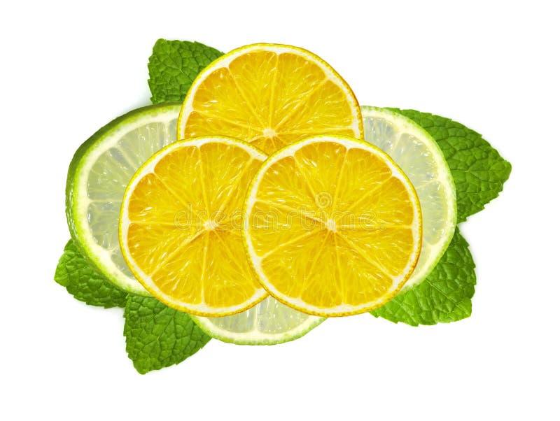 Nya skivor limefrukt och citron med bladmintkaramellen på vit arkivfoton