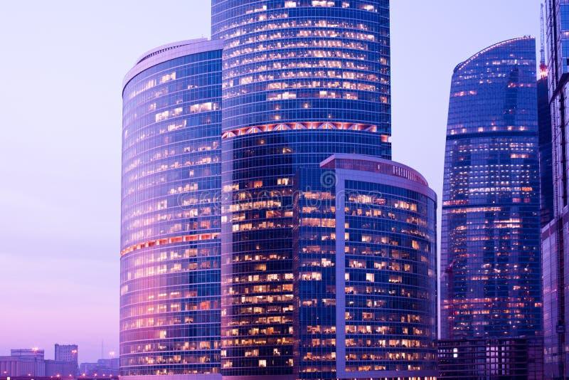 nya skyskrapor för afton royaltyfri fotografi