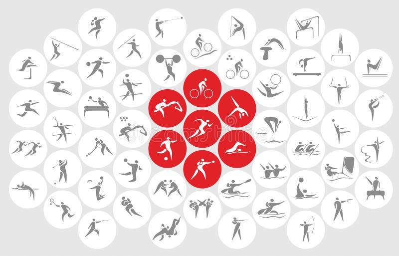 Nya sportsymboler och sportsymboler stock illustrationer