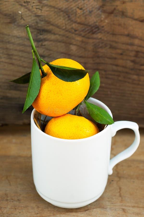 Nya tangerin med sidor i den vita koppen arkivbilder