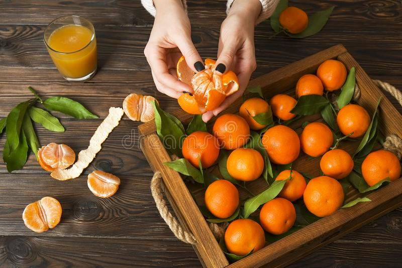 Nya tangerinapelsiner på en trätabell fästande ihop bland annat skalad mandarinbana Halvor, skivor och hel clementinescloseup arkivfoto