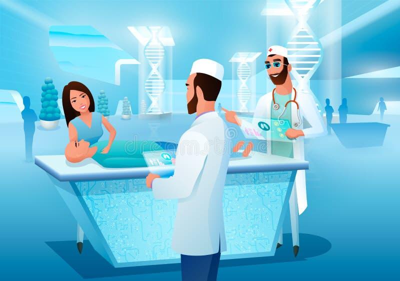 Nya tekniker av det medicinska diagnostikbegreppet stock illustrationer