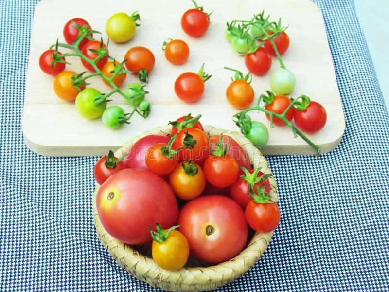 Nya tomater i en variation av färger och format som tillsammans sätts i en korg och förläggas på ett träbräde fotografering för bildbyråer
