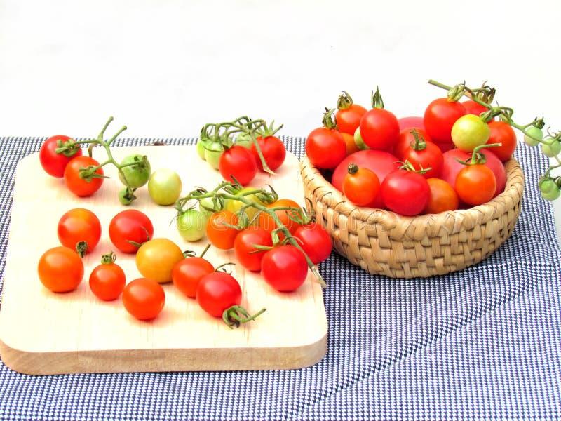 Nya tomater i en variation av färger och format som tillsammans sätts i en korg och förläggas på ett träbräde royaltyfria bilder