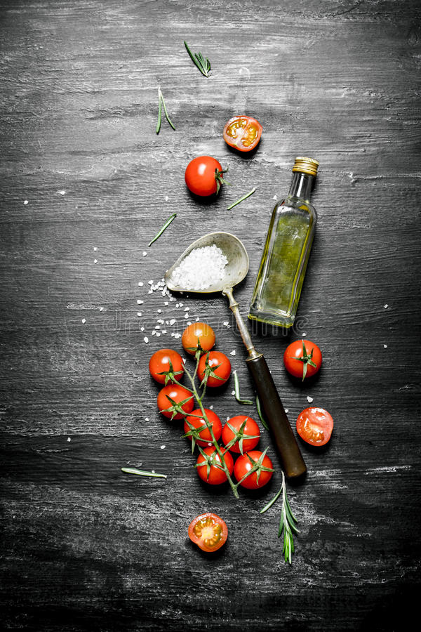 Nya tomater med olivolja och en sked av salt royaltyfria bilder