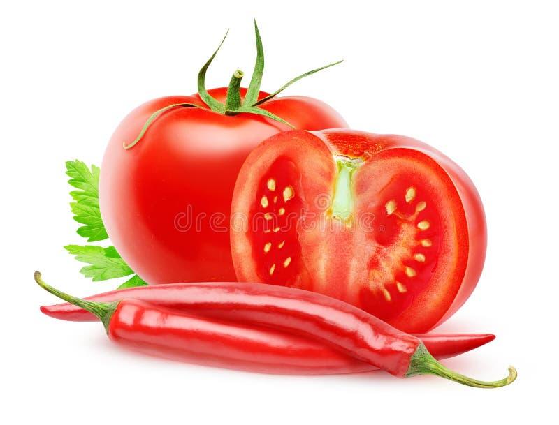 Nya tomater och chilipeppar royaltyfria foton